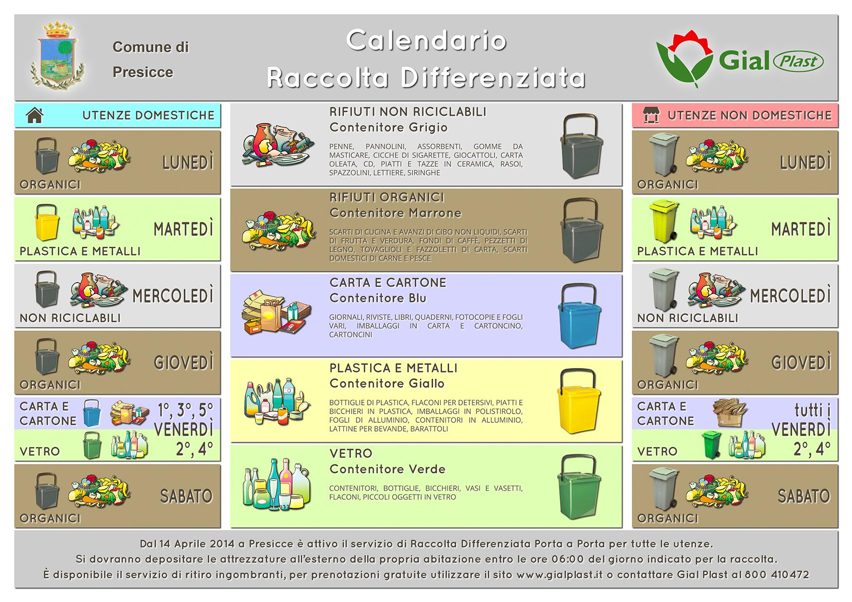 Calendario Raccolta.Calendario Raccolta Differenziata Presicce Gial Plast